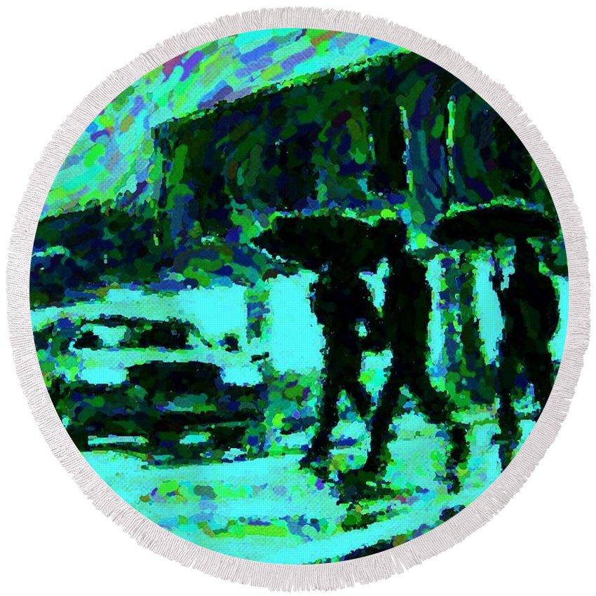 Landscape Paintings Round Beach Towel featuring the digital art Halifax On A Rainy Night by Halifax Artist John Malone