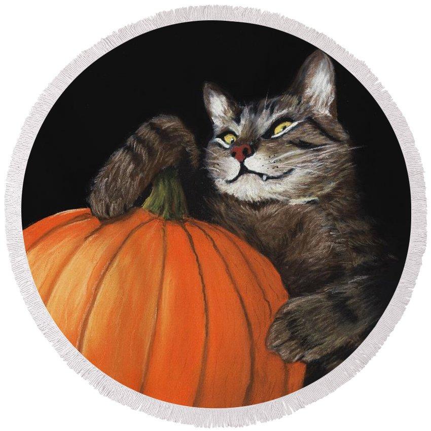 Cat Round Beach Towel featuring the painting Halloween Cat by Anastasiya Malakhova