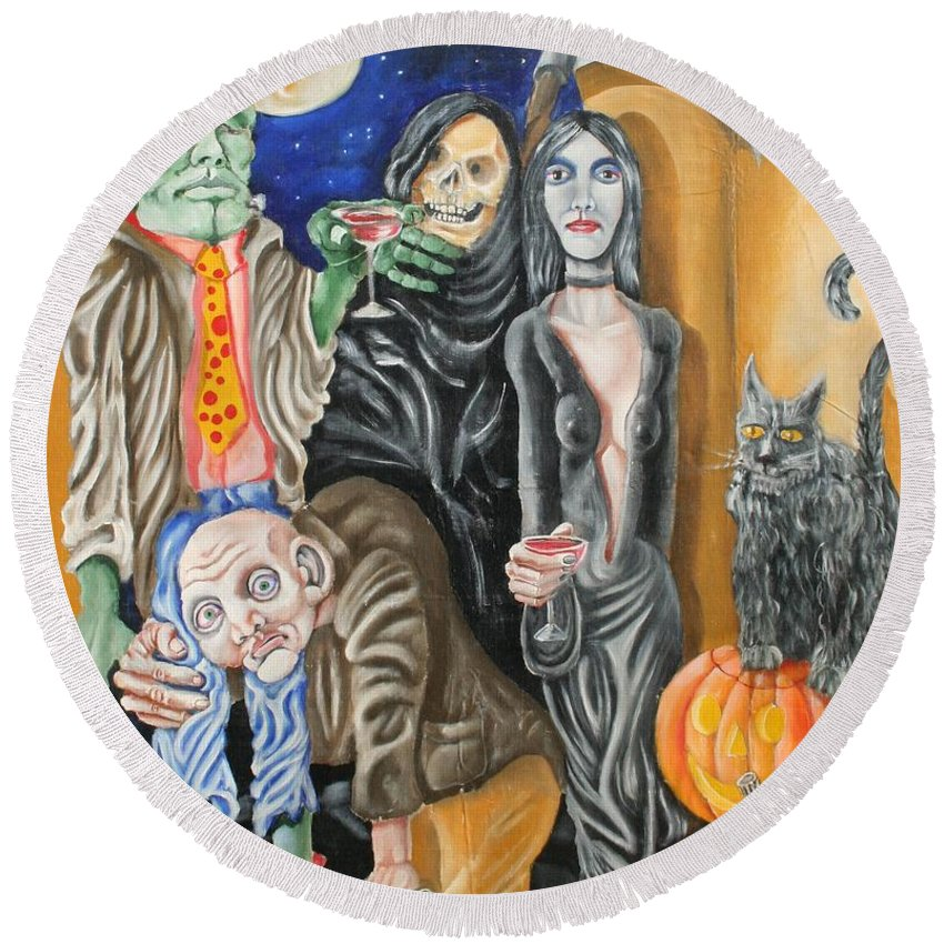 Halloween Round Beach Towel featuring the painting Halloween by Don Martinelli