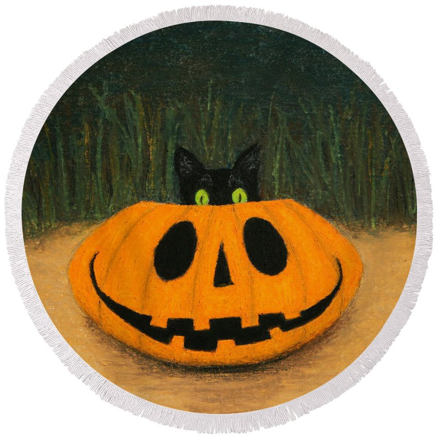 Oil Pastel Round Beach Towel featuring the painting Halloween Kitty by Marna Edwards Flavell