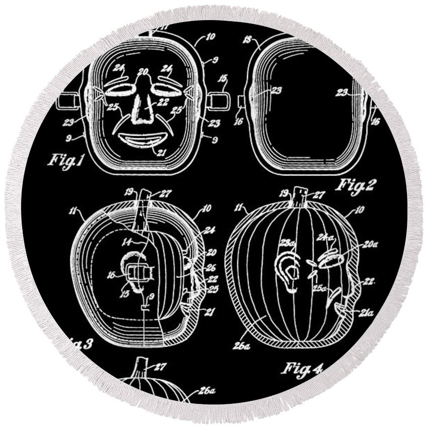 Jack O' Lantern Patent Round Beach Towel featuring the digital art Halloween Pumpkin by Dan Sproul