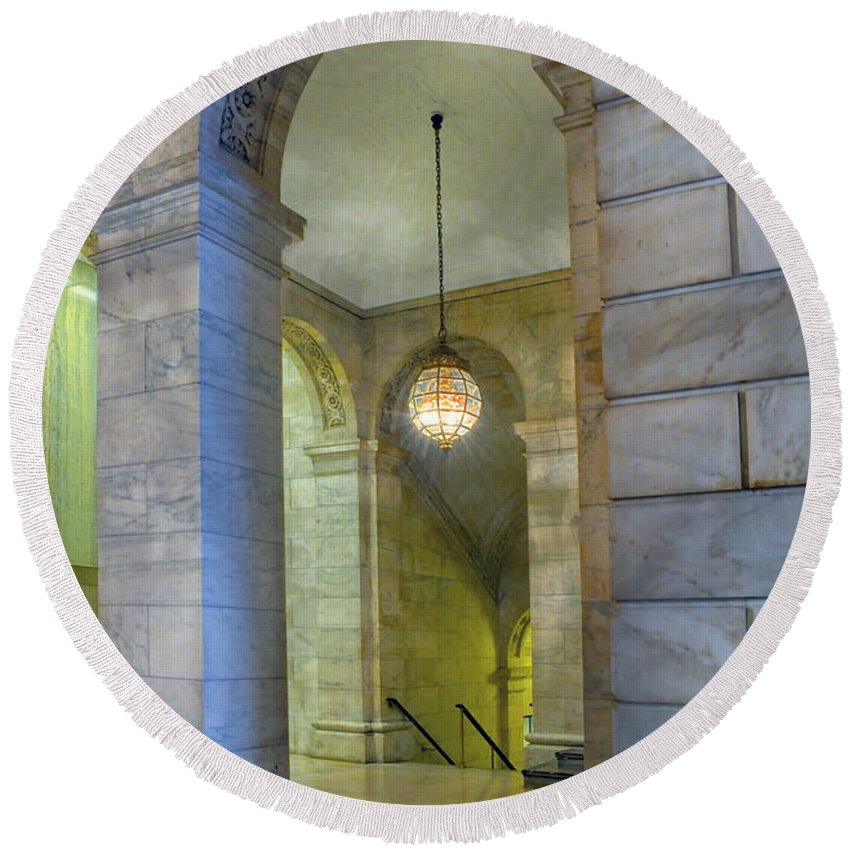 Hallway Round Beach Towel featuring the photograph Hallway New York Public Library by Dave Mills