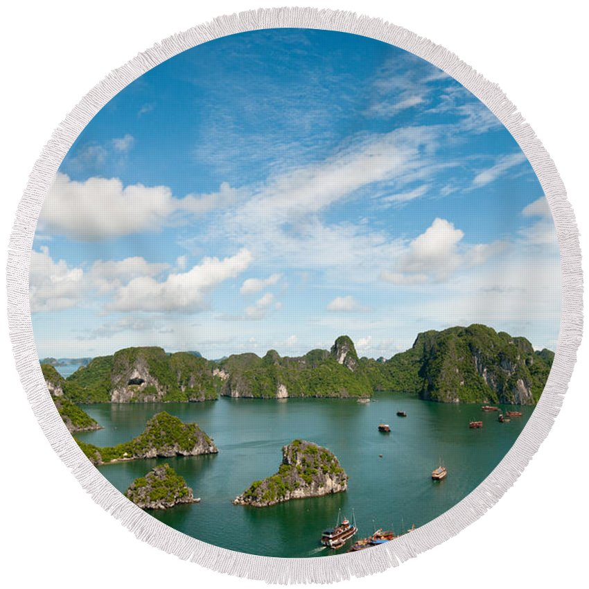 Halong Bay Round Beach Towel featuring the photograph Halong Bay Vietnam by Michalakis Ppalis