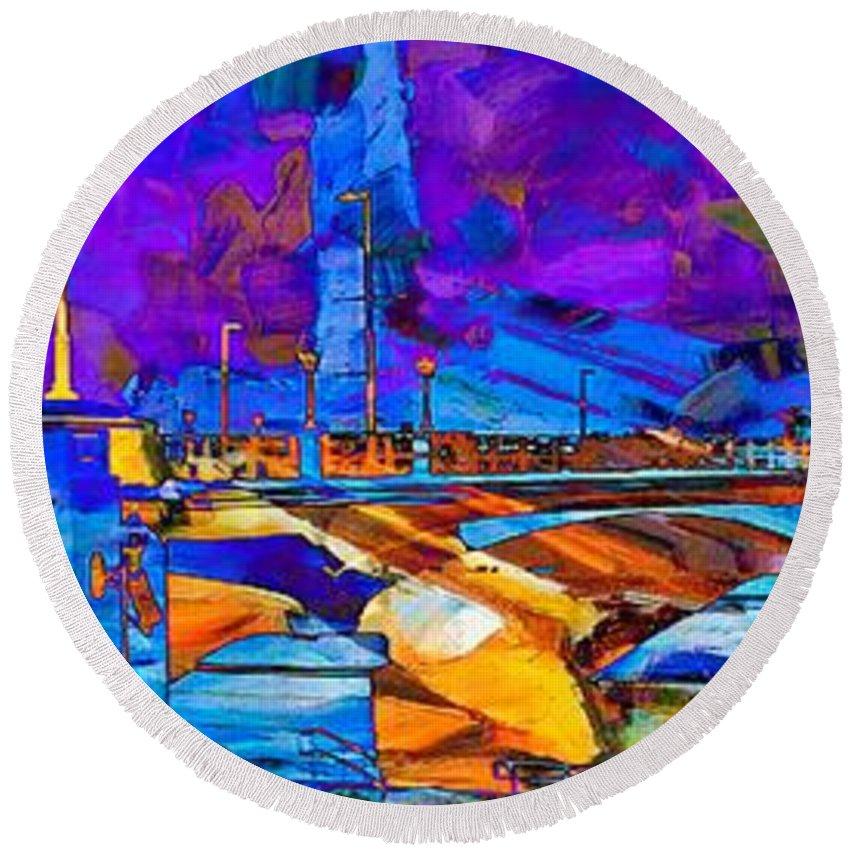 Hamilton Ohio Round Beach Towel featuring the digital art Hamilton Ohio City Art 14 by Mary Clanahan