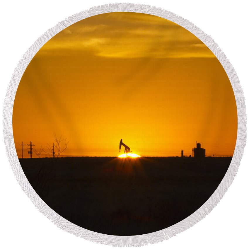 Sunrise Round Beach Towel featuring the photograph Hammering The Sun by Alycia Christine