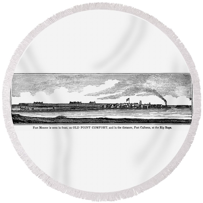 1856 Round Beach Towel featuring the painting Hampton, Virginia Forts by Granger
