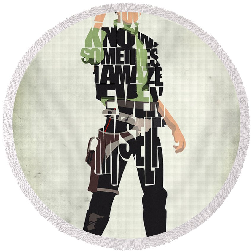 Han Solo Round Beach Towel featuring the painting Han Solo Vol 2 - Star Wars by Inspirowl Design