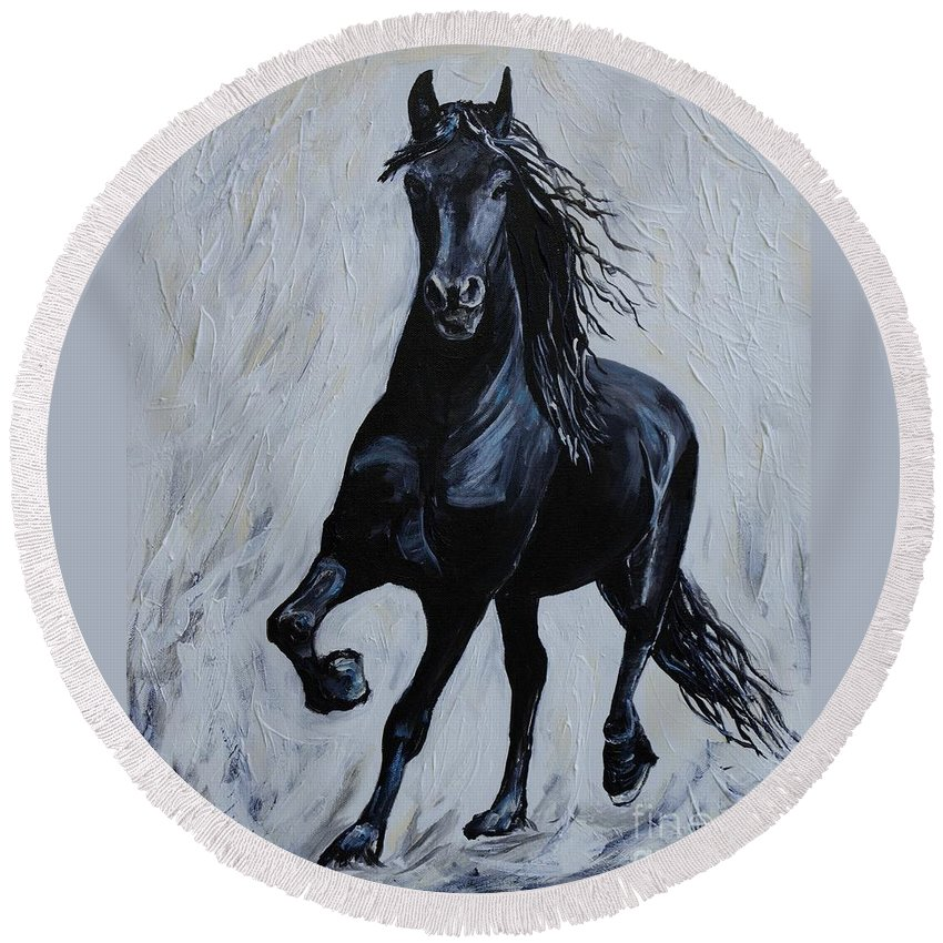 Horse Painting Round Beach Towel featuring the painting Handsome by Leslie Allen