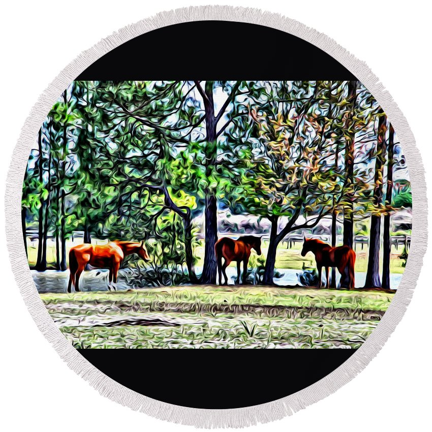 Horses Pond Florida Barn Scenic Alicegipsonphotographs Round Beach Towel featuring the photograph Hanging By The Pond by Alice Gipson