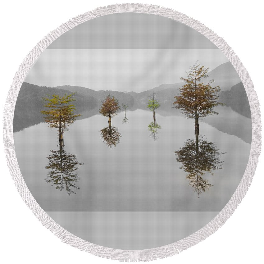 Appalachia Round Beach Towel featuring the photograph Hanging Garden by Debra and Dave Vanderlaan