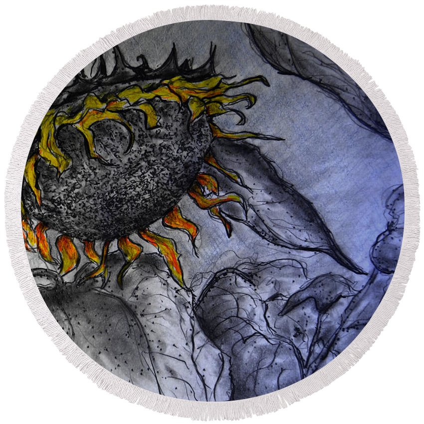 Hanging On To Life - Sunflower Round Beach Towel featuring the drawing Hanging On To Life - Sunflower by Jose A Gonzalez Jr