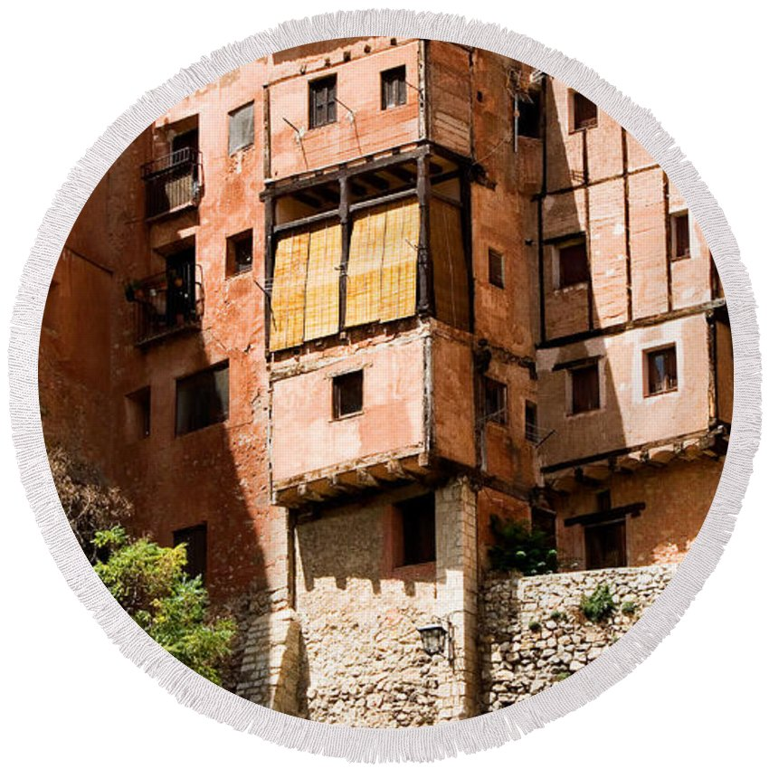 Albarracin Round Beach Towel featuring the photograph Hanging Red Houses by Weston Westmoreland