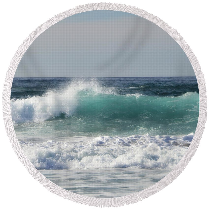 Coast Round Beach Towel featuring the photograph Happily At Sea by Donna Blackhall