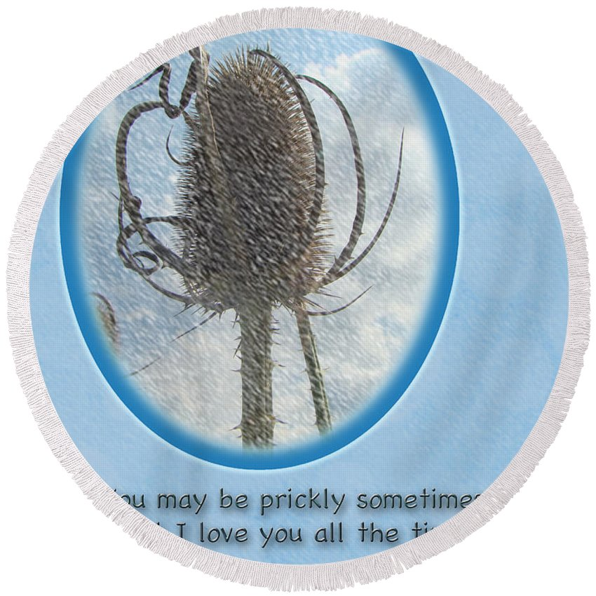 Birthday Round Beach Towel featuring the photograph Happy Birthday Greetings - Dried Teasel Thistle Flower Head by Mother Nature