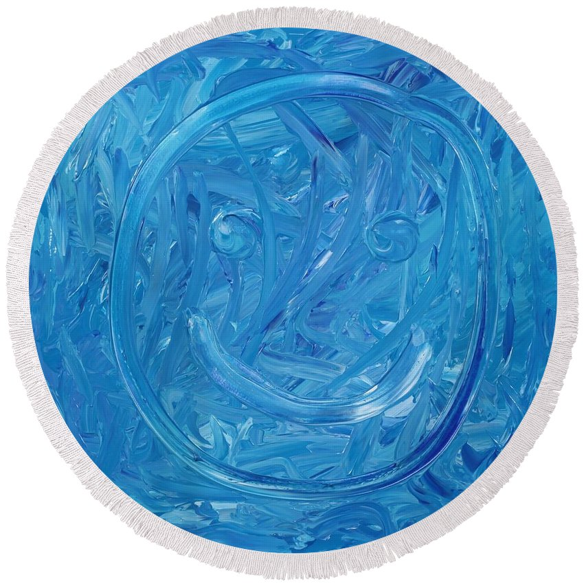 Abstract Round Beach Towel featuring the painting Happy by David Mayeau