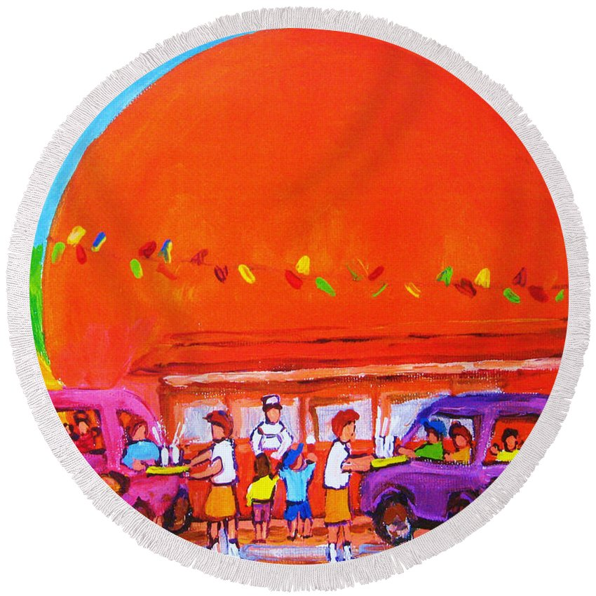 Montreal Round Beach Towel featuring the painting Happy Days At The Big Orange by Carole Spandau