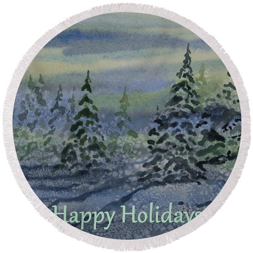 Happy Holidays Round Beach Towel featuring the painting Happy Holidays - Snowy Winter Evening by Cascade Colors