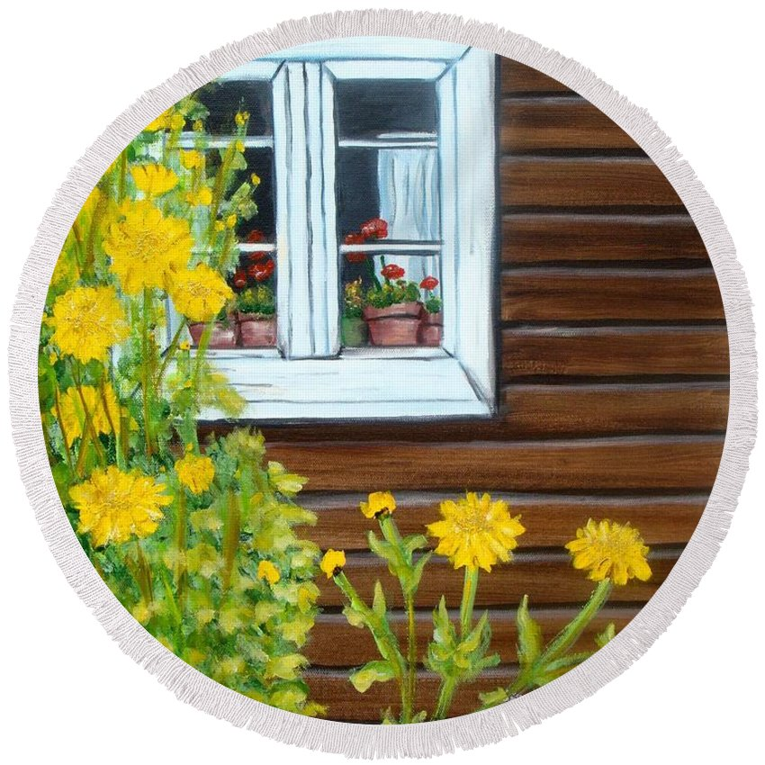 Window Round Beach Towel featuring the painting Happy Homestead by Laurie Morgan