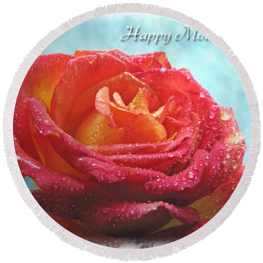 Dew Round Beach Towel featuring the photograph Happy Mothers Day Rose by Debbie Portwood
