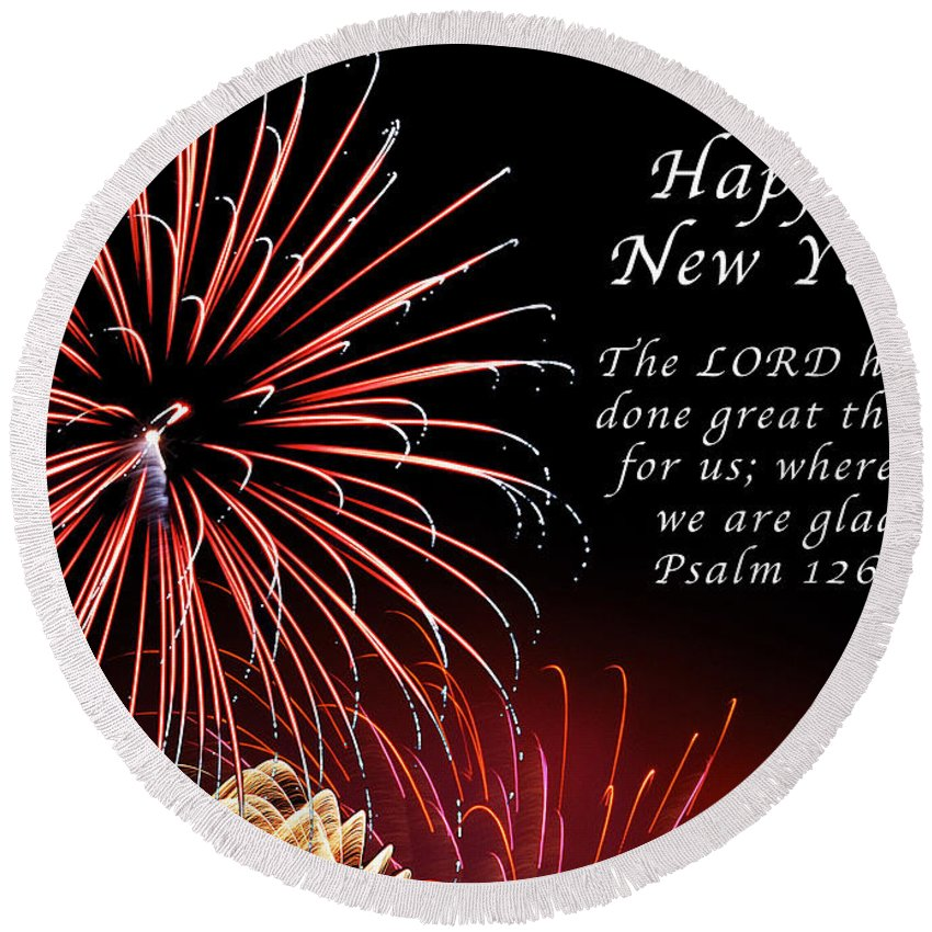 New Year Round Beach Towel featuring the photograph Happy New Year Psalm 123-3 by Michael Peychich