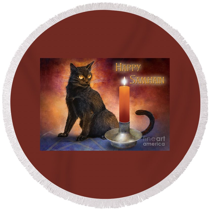 Kitten Reborn Black Wiccan Pentagram Holiday Cool black Cat guide happy Samhain wheel Of The Year Pagan Awesome Harvest Cat Wicca Pentacle Celebration Candle Altar Ritual Orange Red Purple Blue Round Beach Towel featuring the digital art Happy Samhain Kitten And Candle by Melissa A Benson