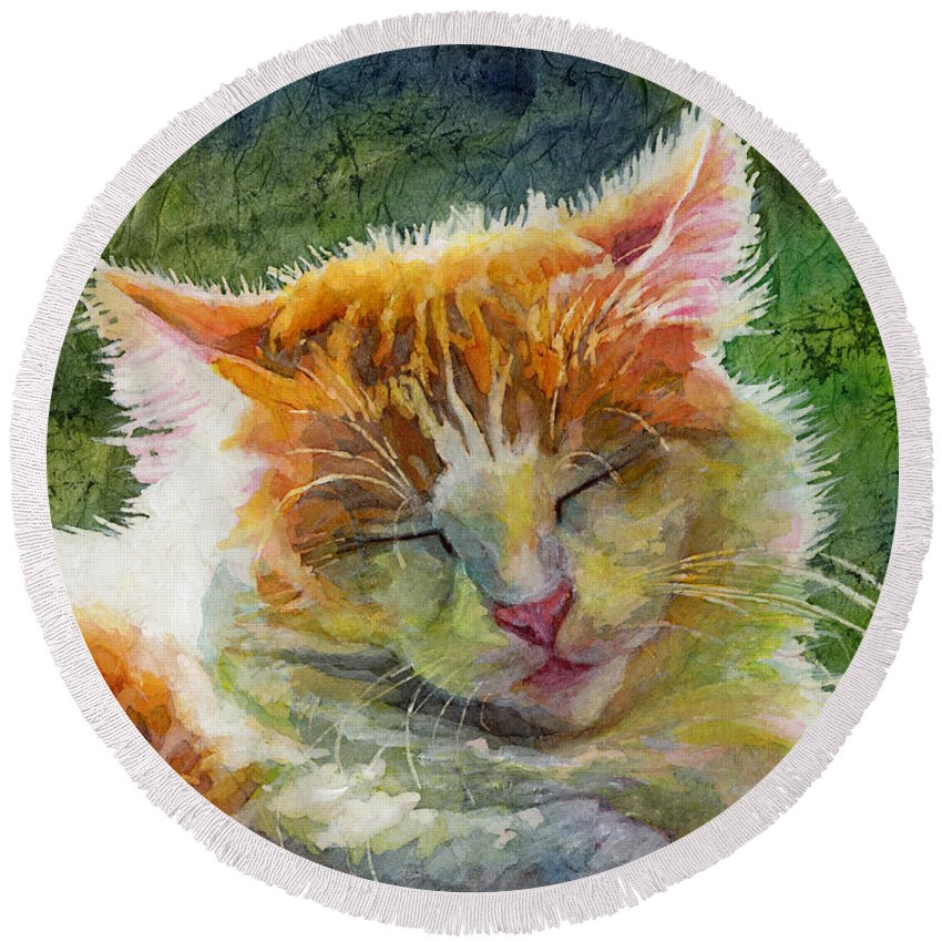 Cat Round Beach Towel featuring the painting Happy Sunbathing 2 by Hailey E Herrera