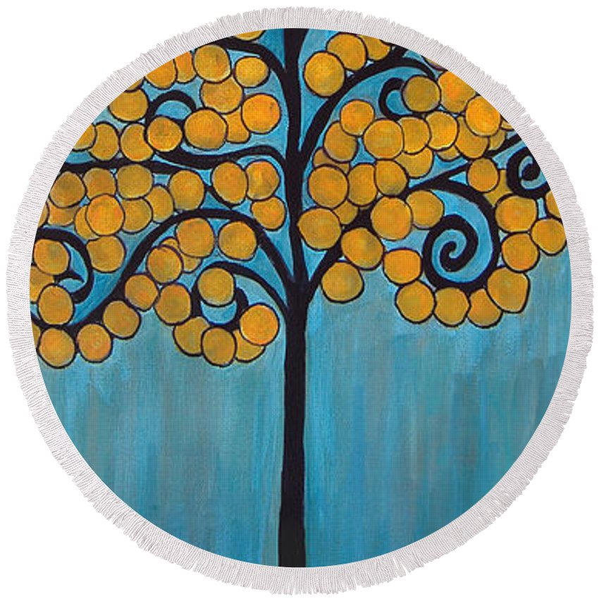 Tree Round Beach Towel featuring the painting Happy Tree In Blue And Gold by Lee Owenby