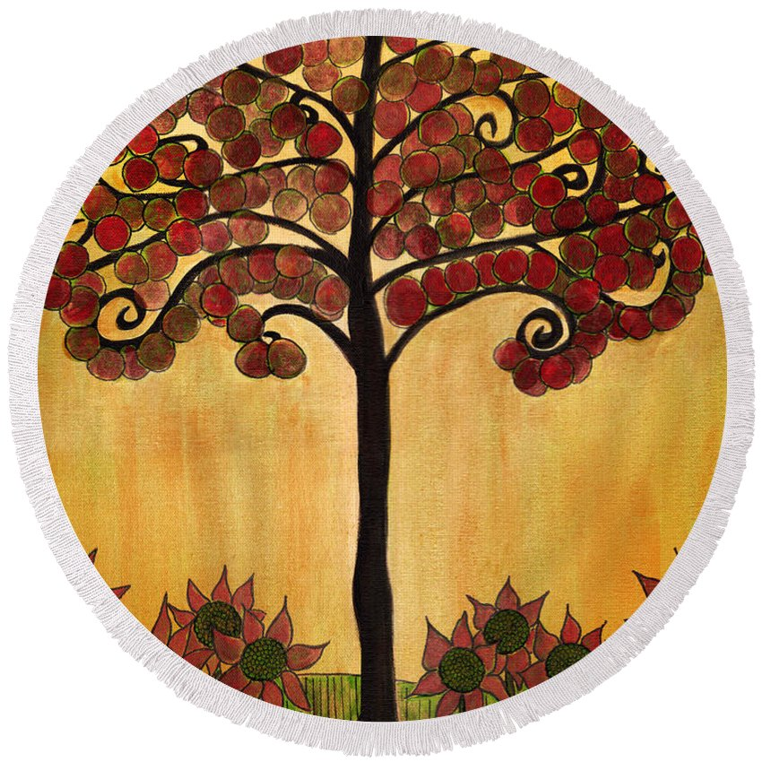 Tree Round Beach Towel featuring the painting Happy Tree In Red by Lee Owenby