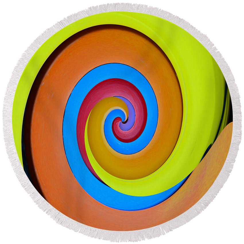 Happy Swirl Round Beach Towel featuring the painting Happy Swirl by David Lee Thompson