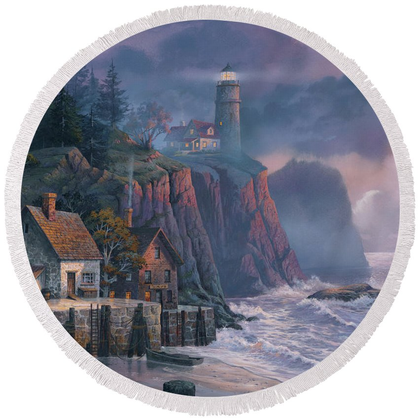 Lighthouse Round Beach Towels