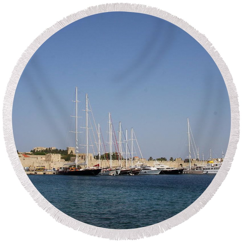 Harbor Round Beach Towel featuring the photograph Harbor Rhodos City by Christiane Schulze Art And Photography
