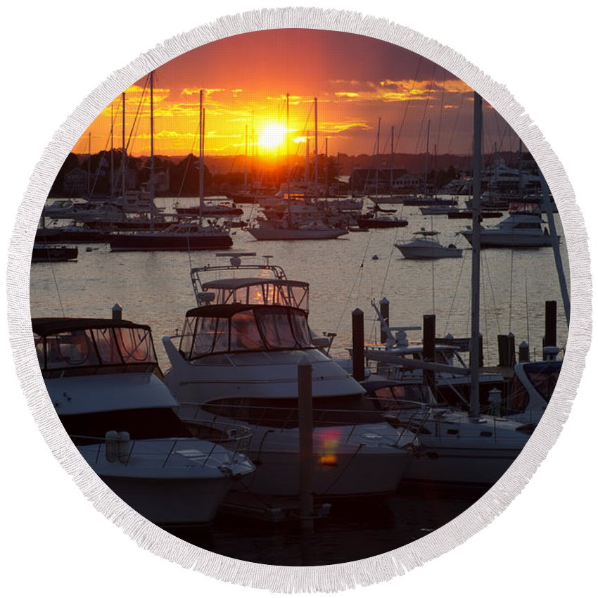 Harbor Round Beach Towel featuring the photograph Harbor Sunset by Ray Konopaske