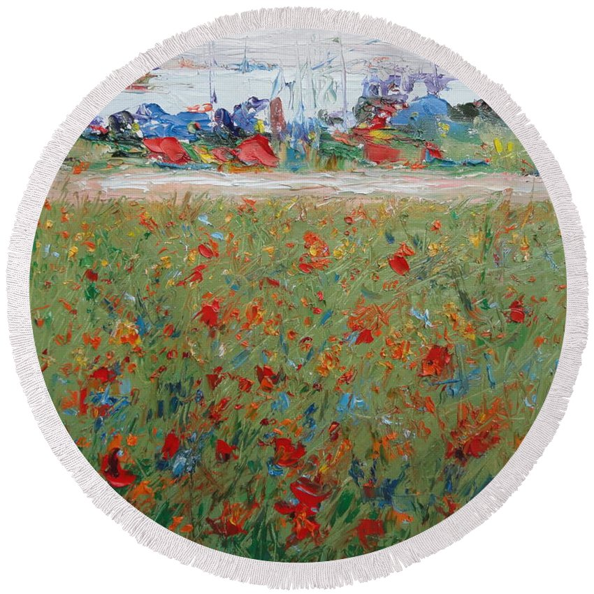 Landscape Round Beach Towel featuring the painting Harboring Oz by Shannon Grissom