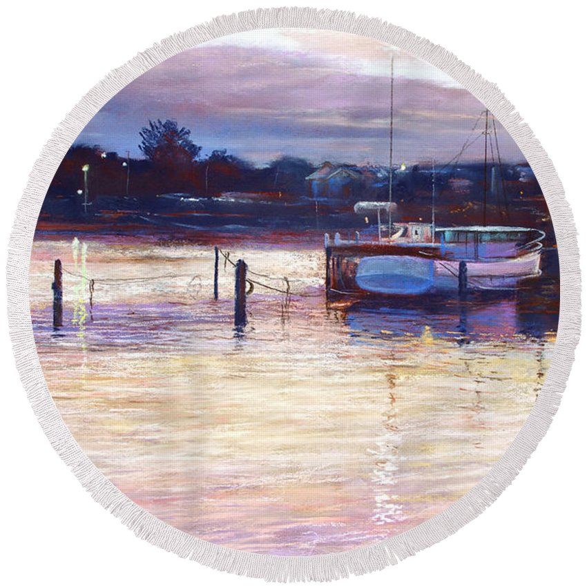 Lynda Robinson Round Beach Towel featuring the pastel Harbour Lights - Apollo Bay by Lynda Robinson