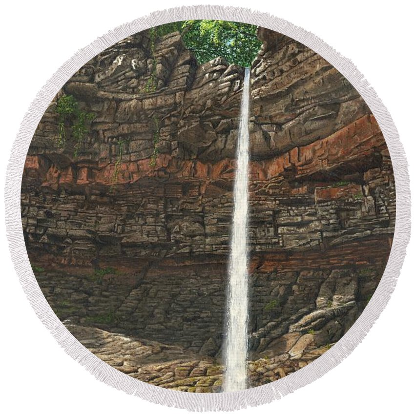 Hardraw Force Round Beach Towel featuring the painting Hardraw Force Yorkshire by Richard Harpum