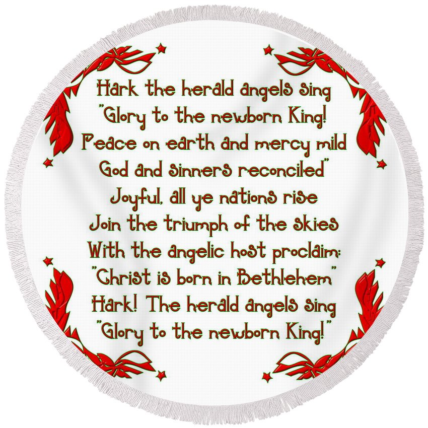 Stars Round Beach Towel featuring the digital art Hark The Herald Angels Sing by Rose Santuci-Sofranko