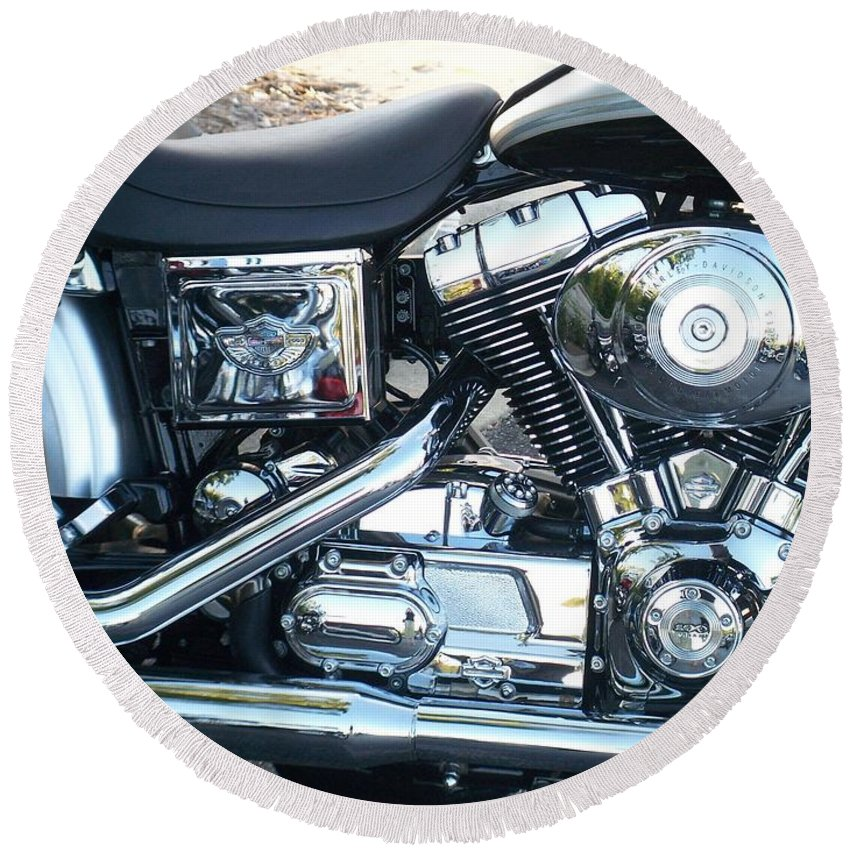 Motorcycles Round Beach Towel featuring the photograph Harley Black And Silver Sideview by Anita Burgermeister