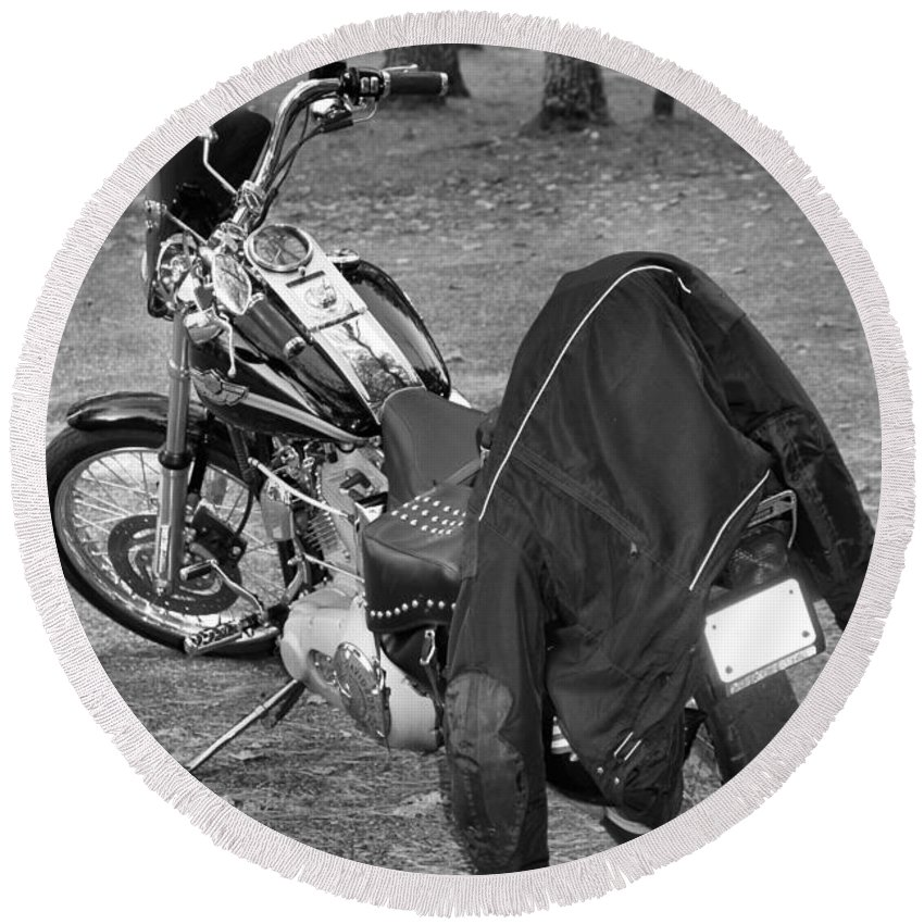 Harley Round Beach Towel featuring the photograph Harley by Dan Sproul