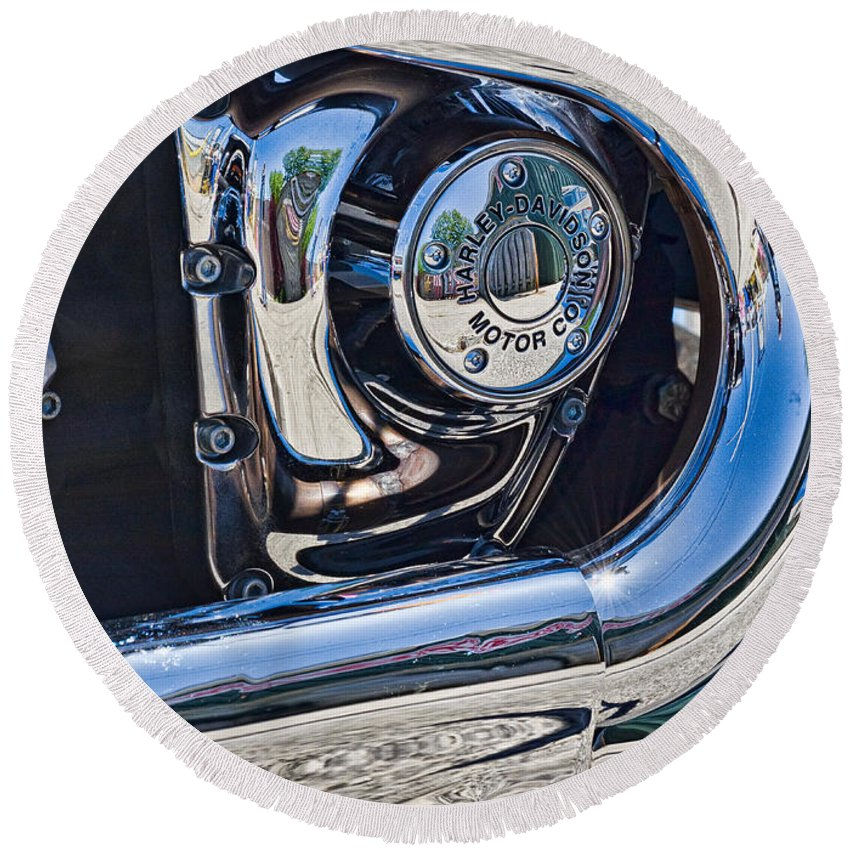 Harley Round Beach Towel featuring the photograph Harley Davidson Engine by Les Palenik