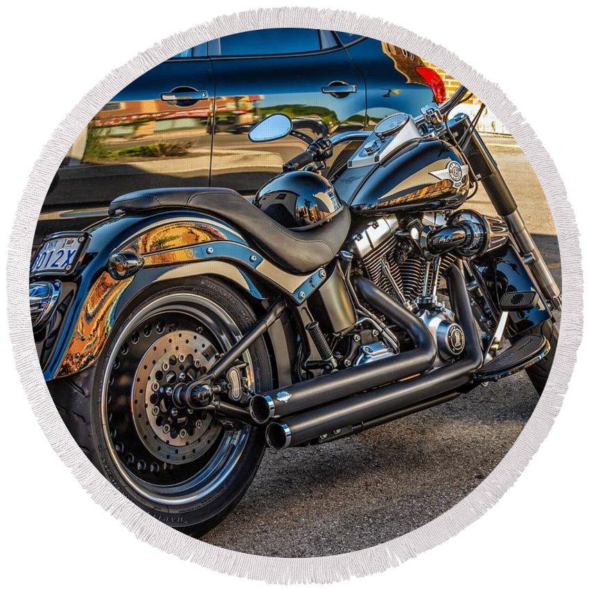 Bolton Round Beach Towel featuring the photograph Harley Davidson by Steve Harrington