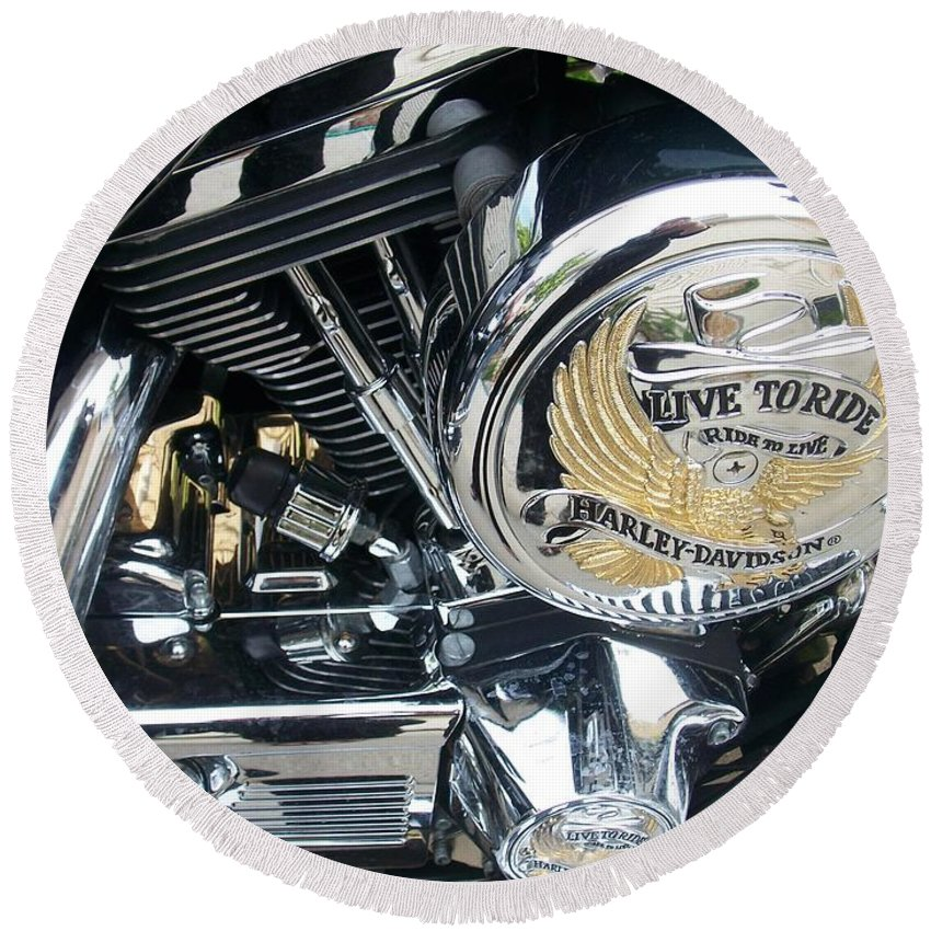 Motorcycles Round Beach Towel featuring the photograph Harley Live To Ride by Anita Burgermeister