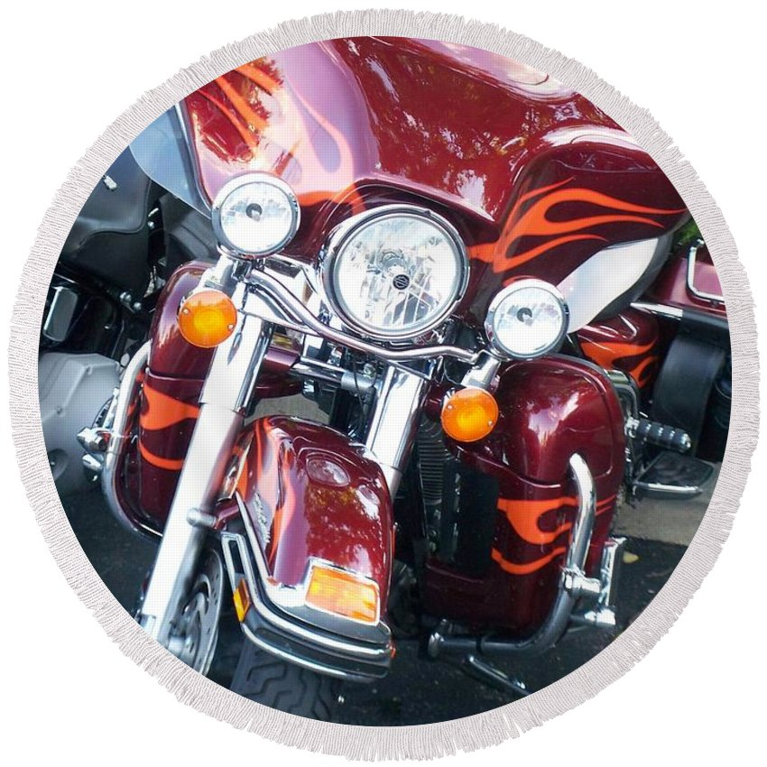 Motorcycles Round Beach Towel featuring the photograph Harley Red W Orange Flames by Anita Burgermeister