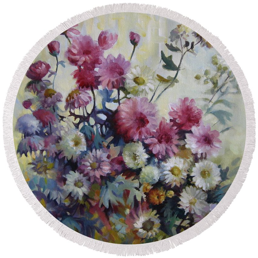 Chrisanthemums Round Beach Towel featuring the painting Harmonies Of Autumn by Elena Oleniuc
