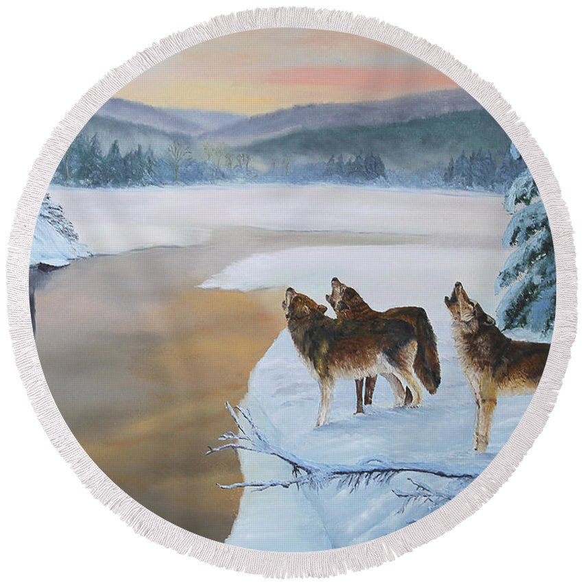 Wildlife Round Beach Towel featuring the painting Harmony As The Sun Sets by Johanna Lerwick