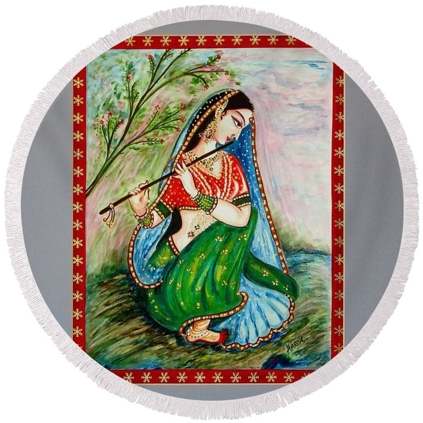Painting Round Beach Towel featuring the painting Harmony by Harsh Malik