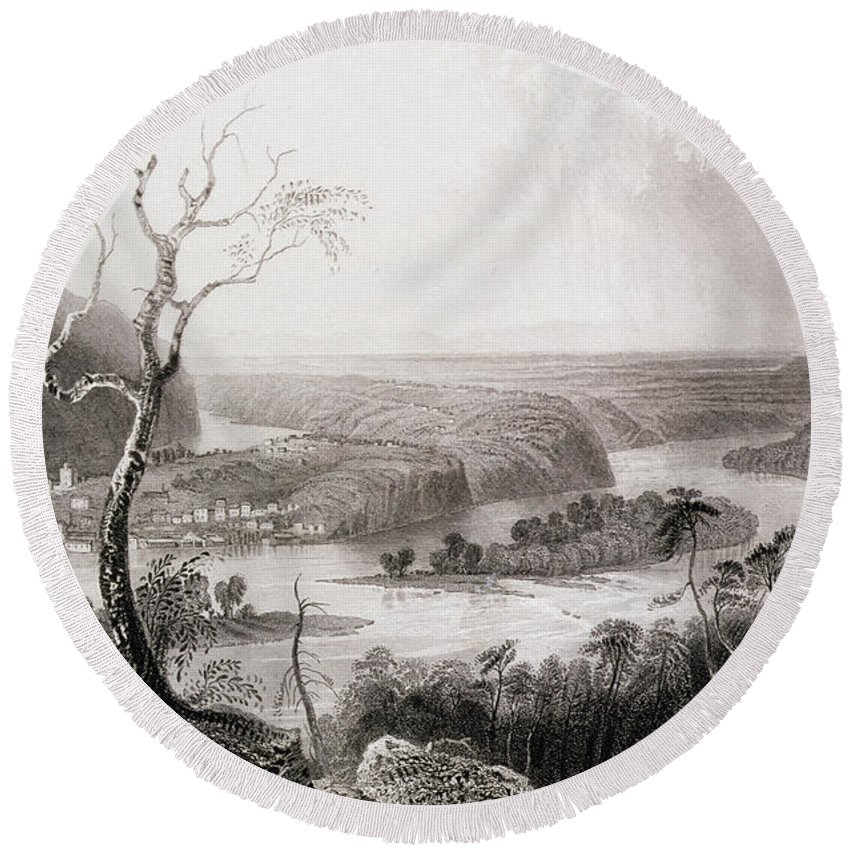 John Brown Round Beach Towel featuring the photograph Harpers Ferry, West Virginia, From The History Of The United States, Vol. II, By Charles Mackay by William Henry Bartlett