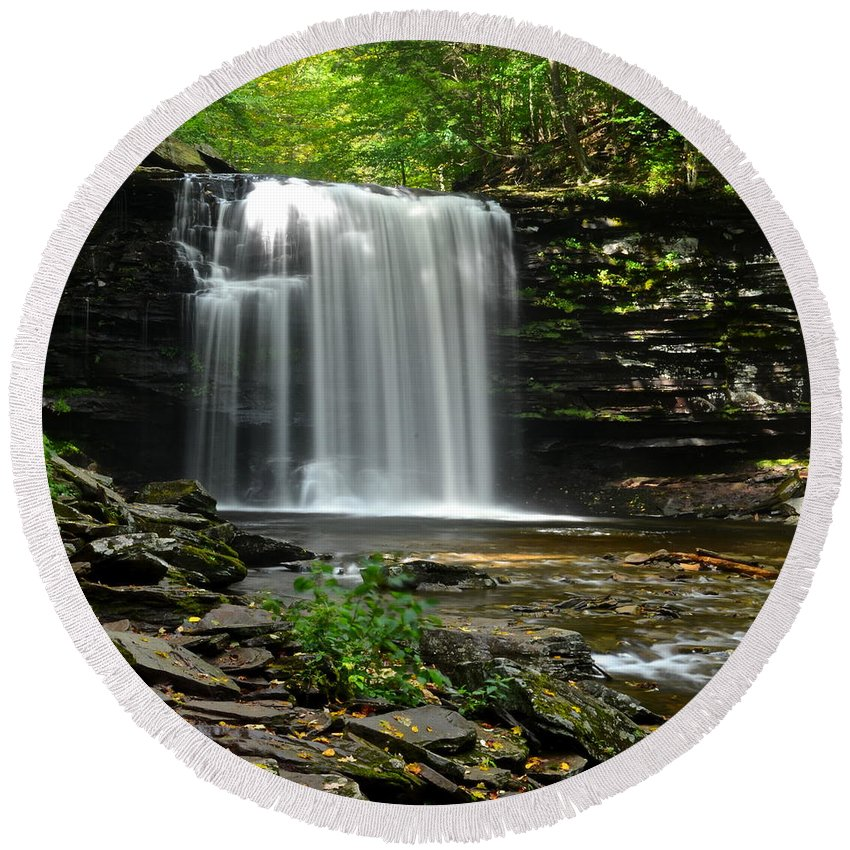 Harrison Round Beach Towel featuring the photograph Harrison Wright Falls by Frozen in Time Fine Art Photography