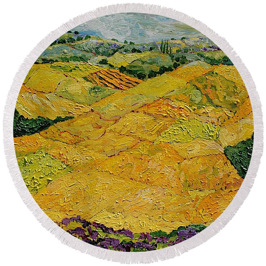 Landscape Round Beach Towel featuring the painting Harvest Joy by Allan P Friedlander