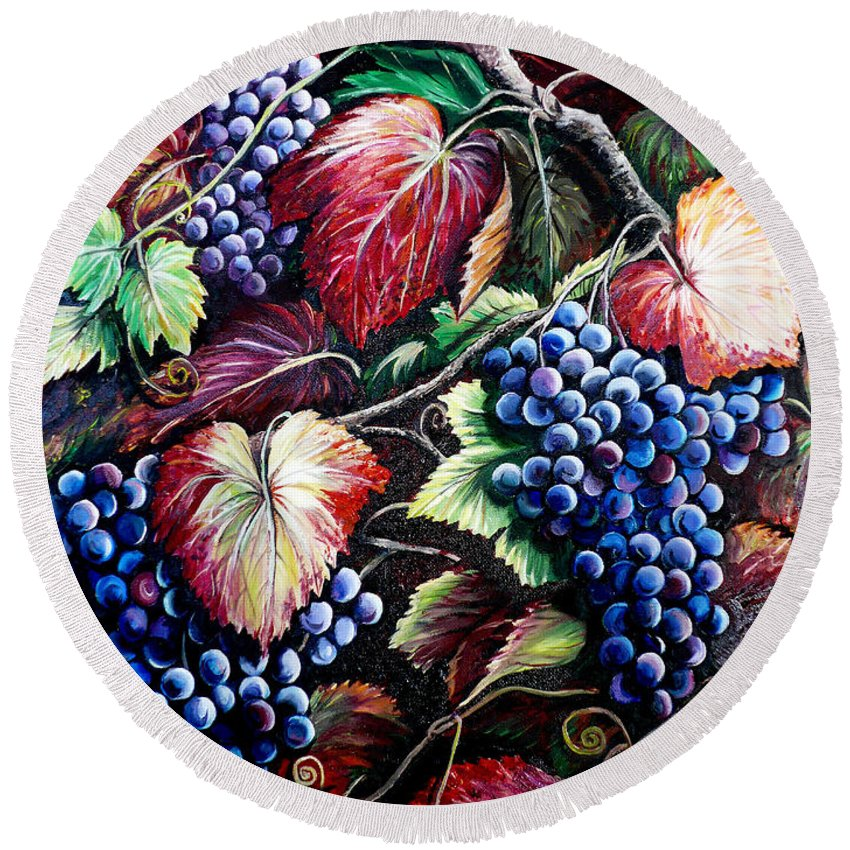 Grapes Painting Round Beach Towel featuring the painting Harvest Time by Karin Dawn Kelshall- Best