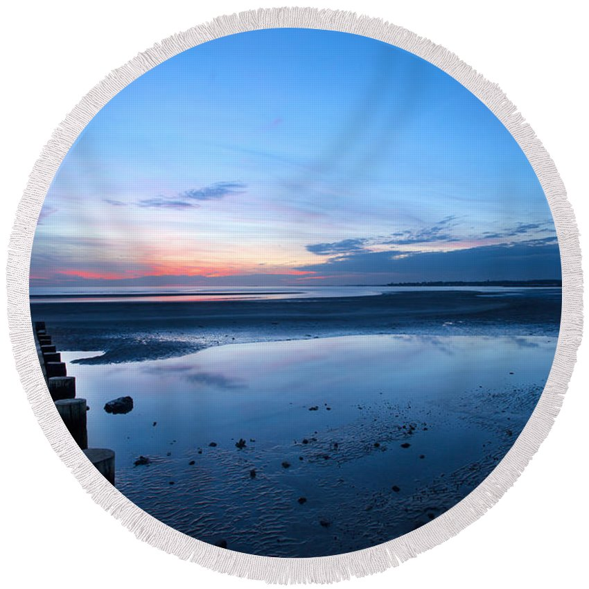 Sunset Round Beach Towel featuring the photograph Harvey's Low Tide by Jonathan Steele
